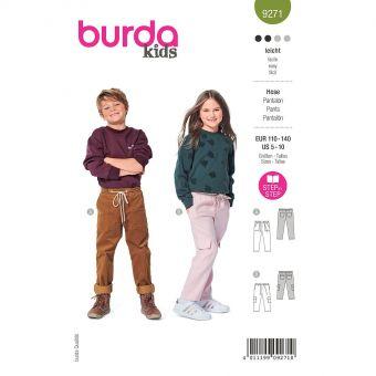 Patron Burda 9271- Pantalon enfant mixte à coulisse élastiquée et poches plaquées du 110 au 140