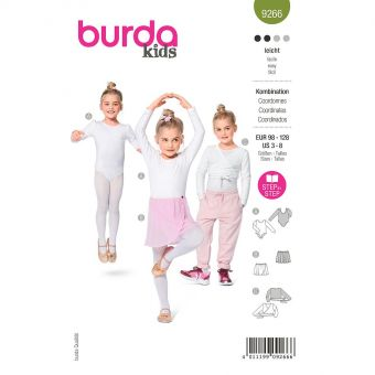 Patron Burda 9266- Body, jupe, gilet Fille du 98 au 128