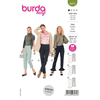 Patron Burda 6072 - Pantalons de forme étroite avec fermeture à glissière latérale du 36 au 46