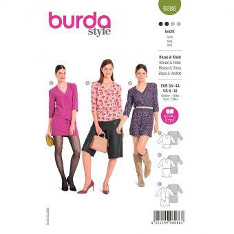 Patron Burda 6086 - Blouse, robe – silhouette enjouée à encolure V du 36 au 46