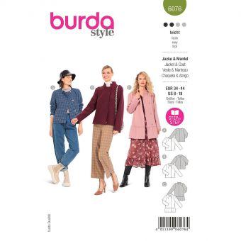 Patron Burda 6076 - Veste, manteau – sans col ou à col droit du 36 au 46