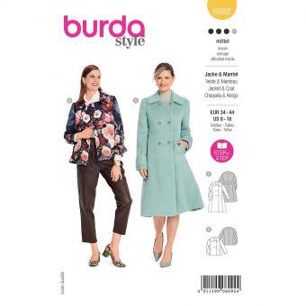 Patron Burda 6092 - Manteau, veste – double boutonnage avec grand col du 36 au 46