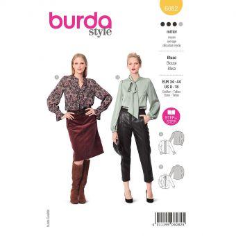 Patron Burda 6082- Blouse féminine avec ruché ou col lavallière du 36 au 46