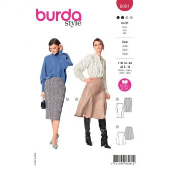 Patron Burda 6061 - Jupe avec des découpe de jupe arrondies sur les côtés du 36 au 46