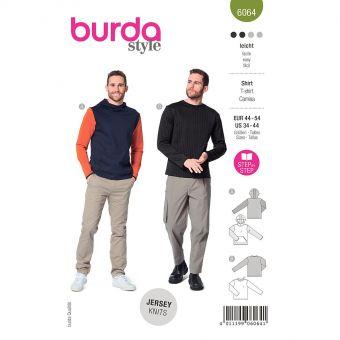 Patron Burda 6064 - SweaTee-Shirt Homme classique avec capuche ou bordure d'encolure du 46 au 56