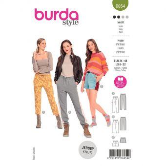 Patron Burda 6054 - Pantalons de jogging Femme en trois longueurs avec bandes latérales du 36 au 50