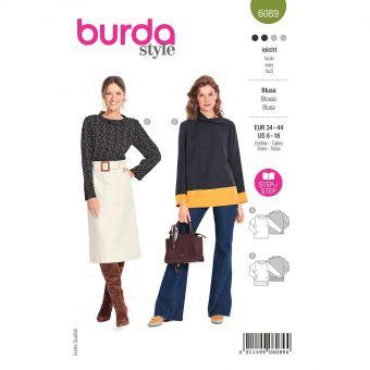 Patron Burda 6089 - Blouse avec fermeture d'épaule unilatérale et col du 36 au 46