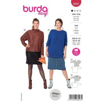 Patron Burda 6093- Pull avec décolleté dos ou avec fente dos et nœud du 46 au 56