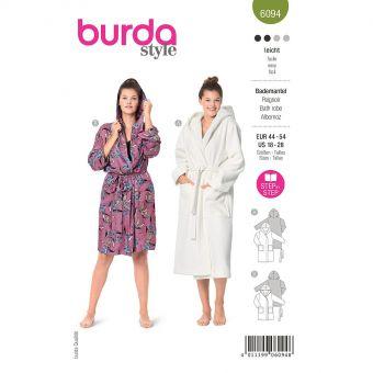 Patron Burda 6094- Peignoir avec capuche et poches plaquées du 46 au 56