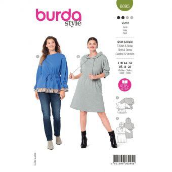 Patron Burda 6095 - Tee-Shirt, robe – coulisse élastiquée à la taille du 46 au 56