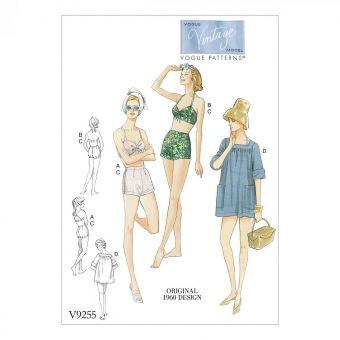 Patron Vogue 9255 Maillot de bain femme Vintage - dessin original de 1960 - du 34 au 50