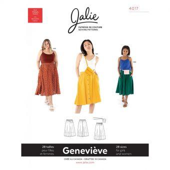 Patron Jalie 4017 GENEVIÈVE - Jupe ample à taille élastique - Femme,fille ,grandes tailles
