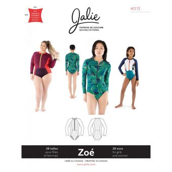Patron Jalie 4013 ZOE - Maillot de sport zippé à manches longues - Femme et Fille