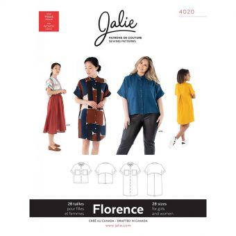 Patron Jalie 4020 FLORENCE - Chemisier et Robe ample à col rond - Femme, fille, grandes tailles