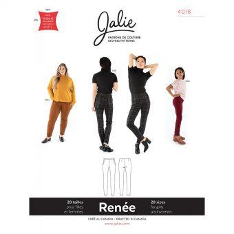Patron Jalie 4018 RENÉE - Pantalon cigarette à taille haute sur élastique - Femme, fille, grandes tailles