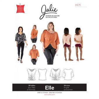 Patron Jalie 4015 ELLE - Haut ample avec Twist réversible devant et dos - Femme, fille et grandes tailles
