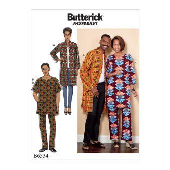 Patron Butterick 6534 Ensemble homme et femme de 34 à 56