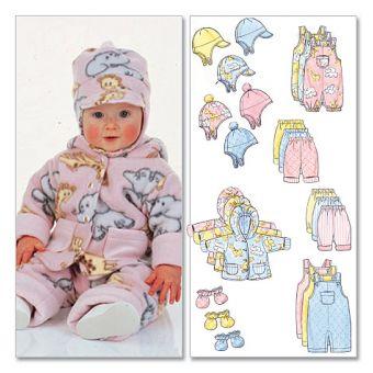 Patron Butterick 5584 Ensemble bébé avec une veste, des pantalon des mouffles et des chapeaux