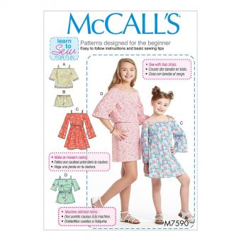 Patron McCall's 7590 Patron de haut, robe et combinaison à à épaules dénudées et short pour filles