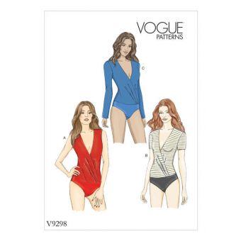 Patron Vogue 9298 Body femme cache - cœur avec ou sans manche - du 34 au 50