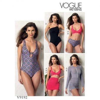 Patron Vogue 9192 Maillots de bain femme et robe de plage - Bikini, Monokini, Une pièce, Tankini et Robe plage - du 34 au 50