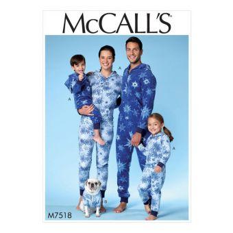 Patron McCall's 7518 Patron de combinaisons à capuche pour enfants et adultes et manteaux pour chiens