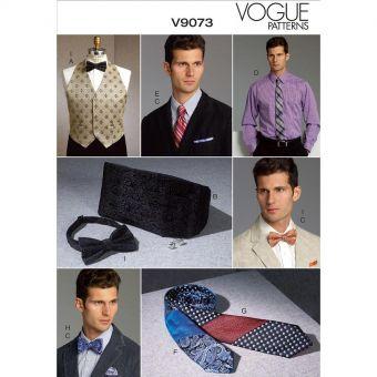 Patron Vogue 9073 Ensemble accessoires mariage homme - Gilet, ceinture écharpe, pochette et cravates