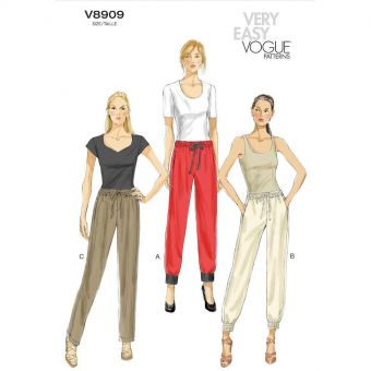 Patron Vogue 8909 Pantalons femme Sportswear taille élastique - du 32 au 54