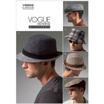 Patron Vogue 8869 Chapeaux homme Trilby, Casquette & Bob - de 57 à 62 cm