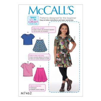 Patron McCall's 7462 Patron de Tee-Shirts et jupes colorés pour filles