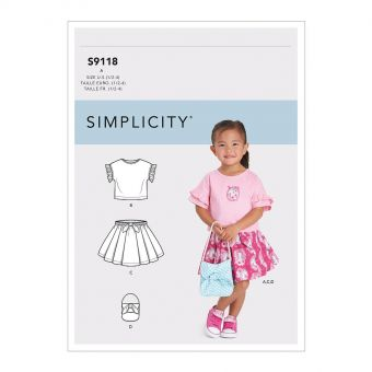 Patron Simplicity 9118 Ensemble fillette Tee-Shirt Jupe & petit sac - de 6 mois à 4 ans