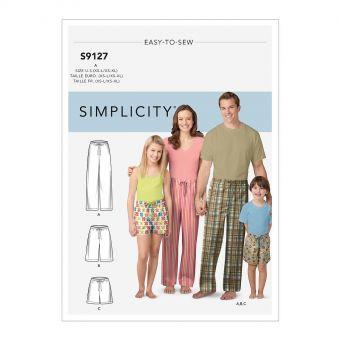 Patron Simplicity 9127 Pyjama pour toute la famille - S à XL