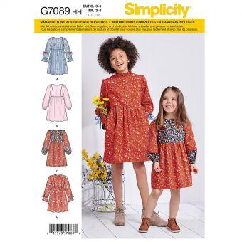 Patron Simplicity 8708 Robe à variation de manches pour filles de 3 à 14 ans
