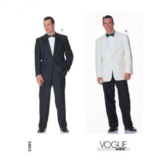 Patron Vogue 2383 Costume Smoking homme Veste Tuxedo et pantalon du 36 au 52