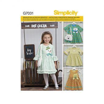 Patron Simplicity 8522 Robes et sacs fillette