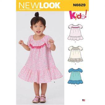Patron New Look 6629 Robe à volants pour filles de 6 mois à 4 ans
