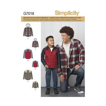 Patron Simplicity 8475 Chemise ou veste homme et garçon