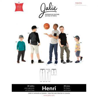 Patron JALIE 3909 HENRI Pantalon jogging et short pour hommes et pour garçons 36 à 58 et fille de 2 à 13 ans