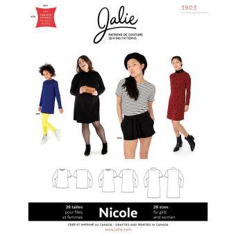 Patron JALIE 3903 NICOLE haut et robe pour femme du 36 au 58 et fille de 2 à 13 ans