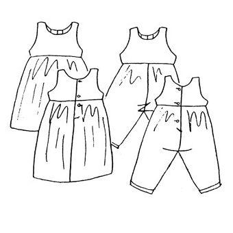 Patron Frégoli 308 - Robe chasuble et bloomer bébé 6 à 36 mois