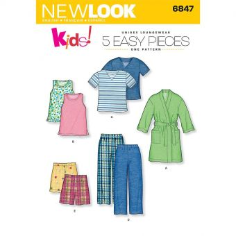 Patron New Look 6847 Ensemble de nuit, pyjamas, peignoirs