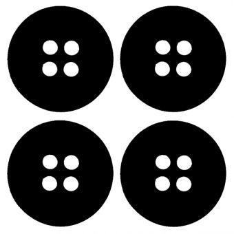 Boutons 35mm noir (4 pièces)