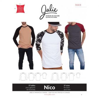 Patron Jalie 3669 Nico - Tshirt garçons et hommes