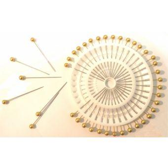 Épingles tête perle, coloris dorée