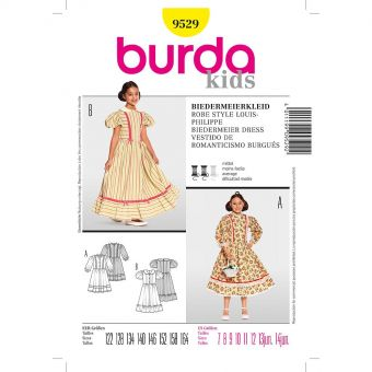 Patron Burda 9529 Historique Robe style Louis - Philippe