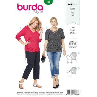 Patron Burda 6308 - Tee-Shirt pour femmes de 48 à 58