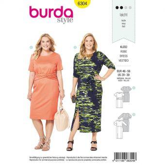 Patron Burda 6304 - Robe pour femmes de 48 à 58