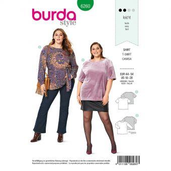 Patron Burda 6260 Tee-Shirt et tunique pour femmes de 46 à 56