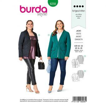 Patron Burda 6258 Veste encolure en V pour femmes de 46 à 56
