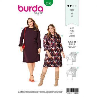 Patron Burda 6255 Robe à jupe évasée pour femmes de 46 à 56